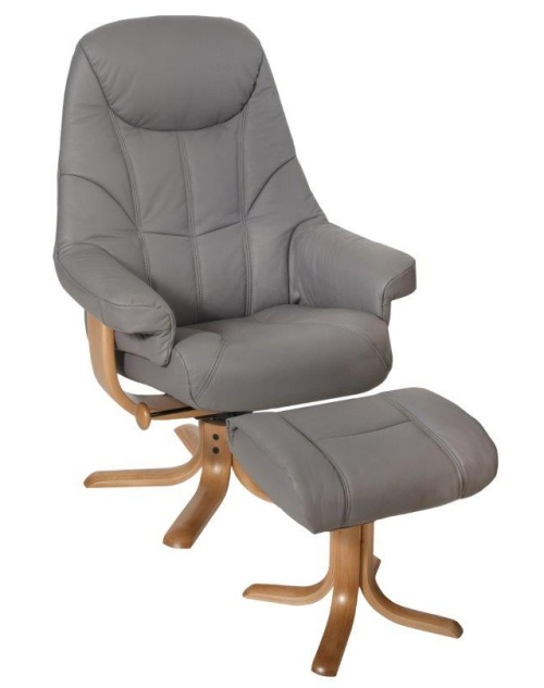 Elano Globe Recliner Swivel Chair And Stool Leather Pvc 163 734