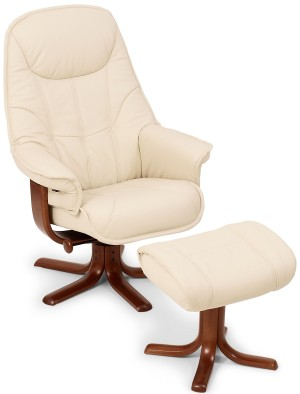 Sitbest Globe Swivel Recliner Chair And Stool Leather Or