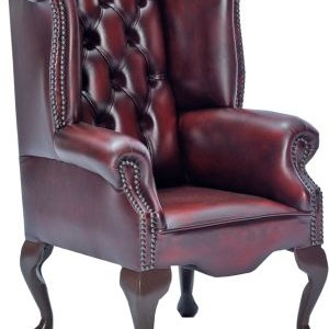 Childrens Leather Scroll Wing Chair
